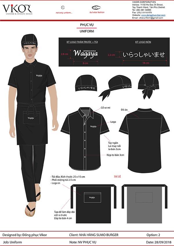 Đồng phục nhà hàng Nhật Wagaya mẫu 1