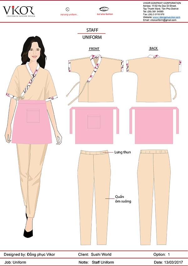 Trang phục phục vụ bàn năng động và thoải mái